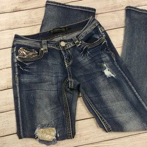 Twentyone Black Low Rise Boot Cut Sequin Jeans
